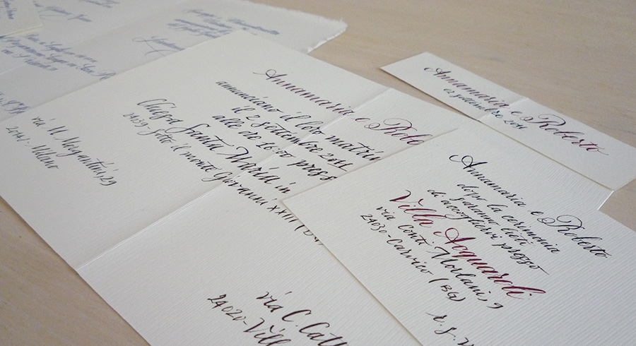 <p><strong>Calligrafie per matrimoni</strong> <br> Personal project</p>